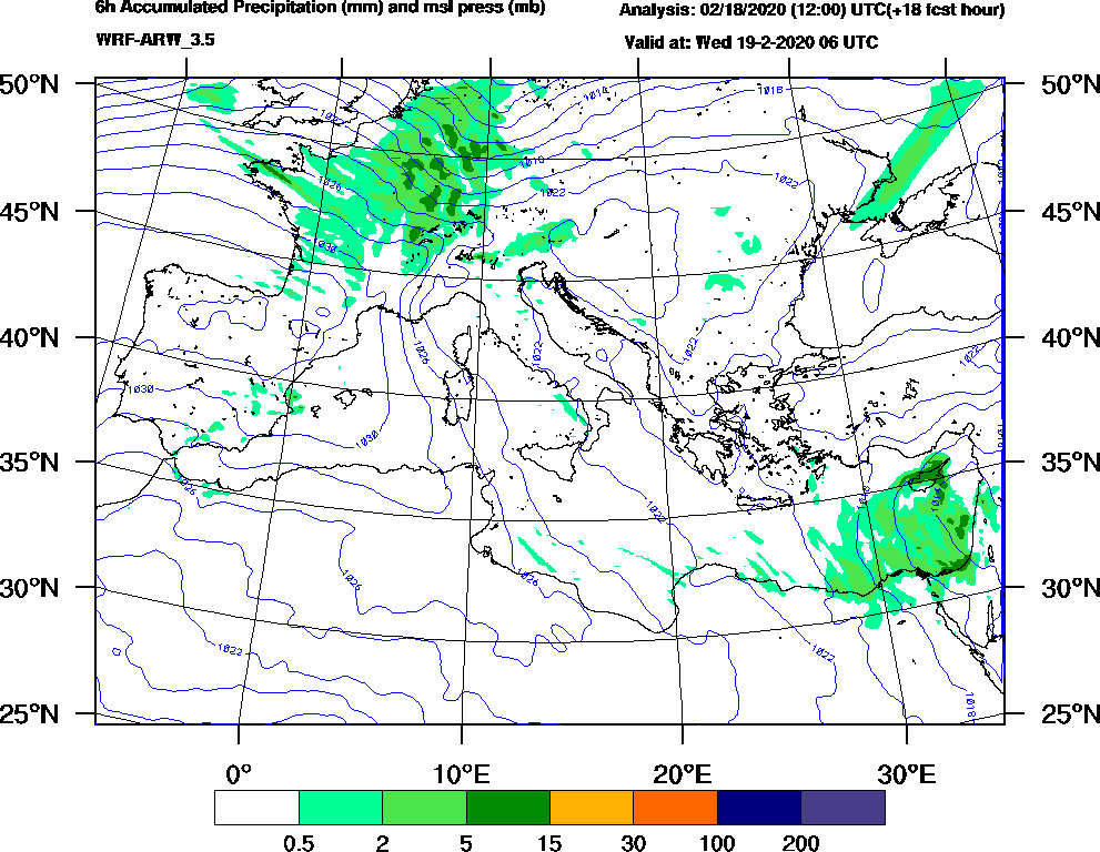 6h Accumulated Precipitation (mm) and msl press (mb) - 2020-02-19 00:00