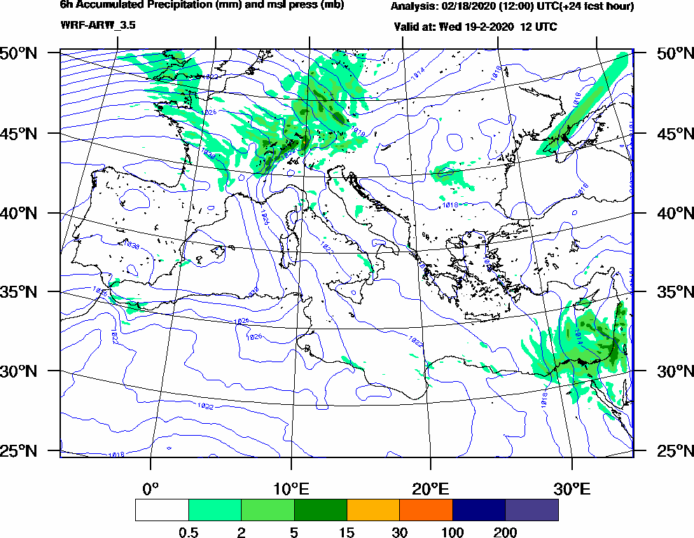 6h Accumulated Precipitation (mm) and msl press (mb) - 2020-02-19 06:00