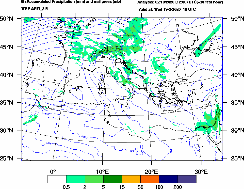 6h Accumulated Precipitation (mm) and msl press (mb) - 2020-02-19 12:00