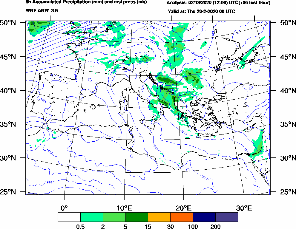6h Accumulated Precipitation (mm) and msl press (mb) - 2020-02-19 18:00