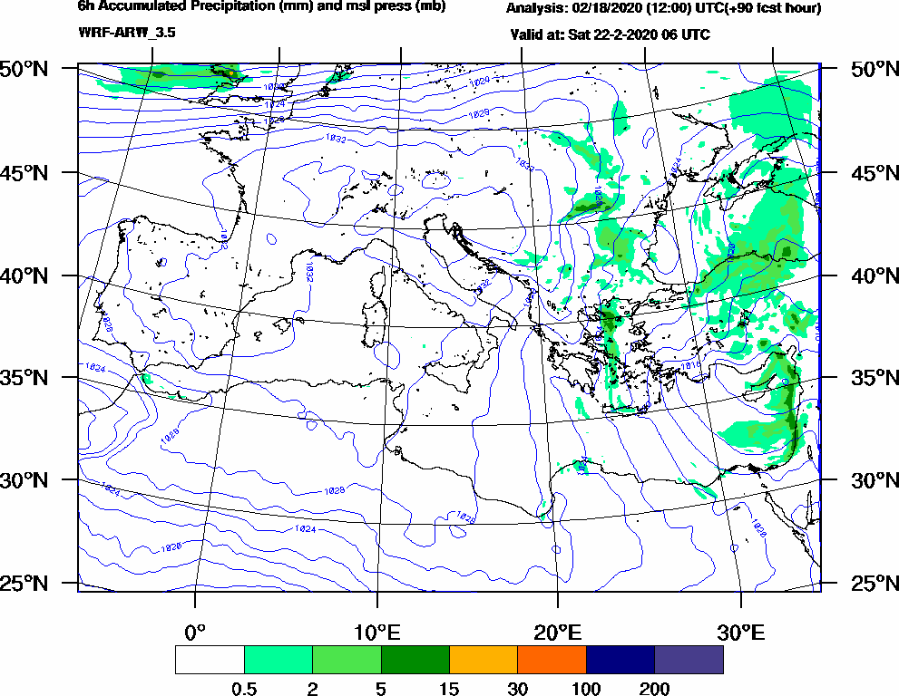 6h Accumulated Precipitation (mm) and msl press (mb) - 2020-02-22 00:00