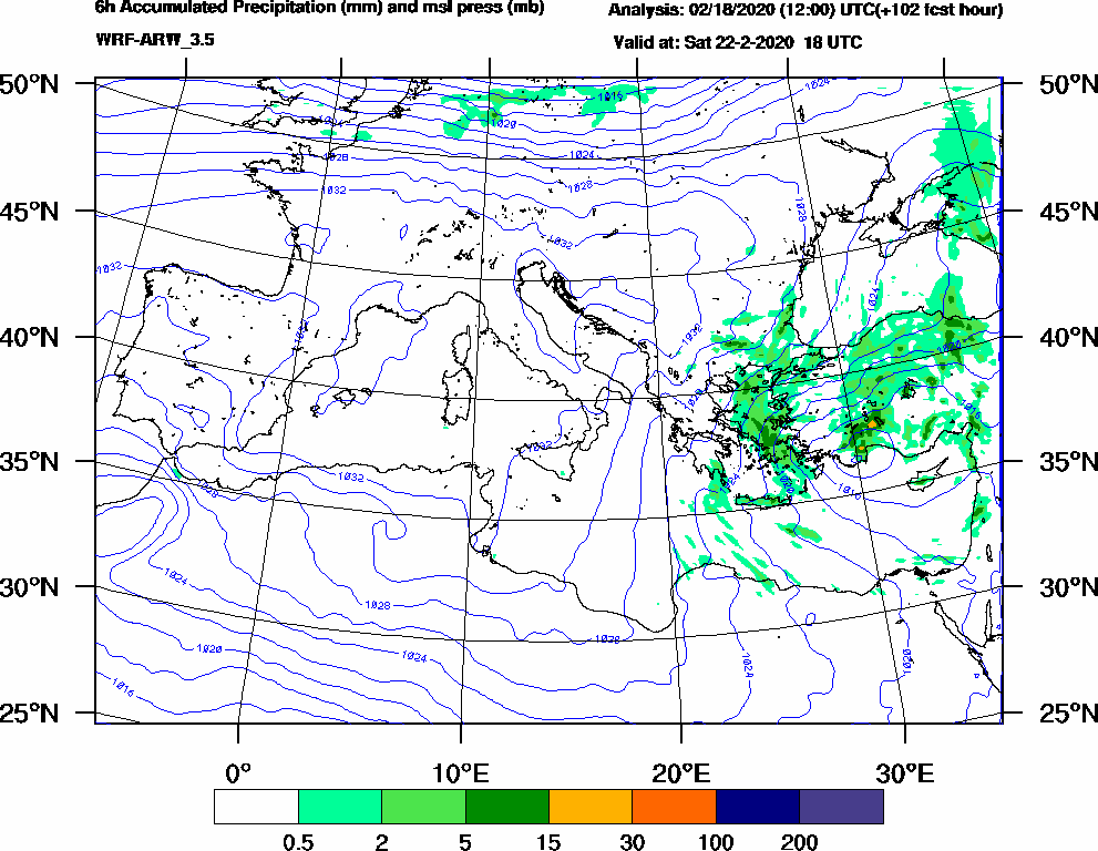 6h Accumulated Precipitation (mm) and msl press (mb) - 2020-02-22 12:00