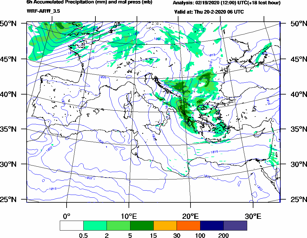 6h Accumulated Precipitation (mm) and msl press (mb) - 2020-02-20 00:00