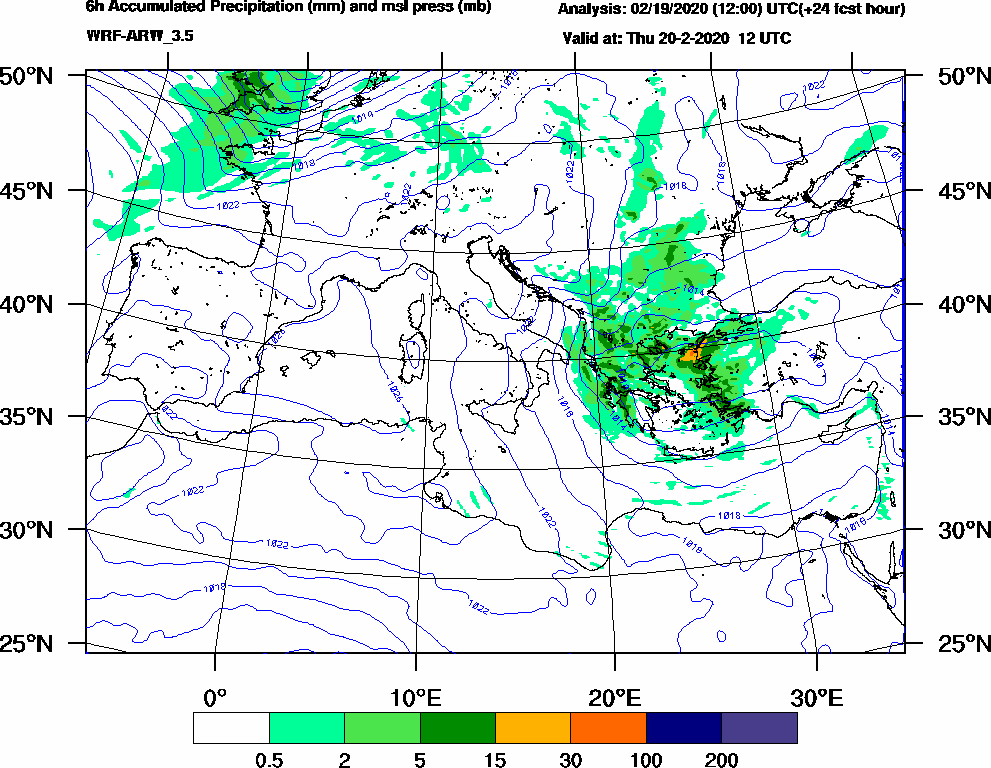 6h Accumulated Precipitation (mm) and msl press (mb) - 2020-02-20 06:00