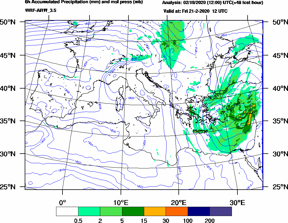 6h Accumulated Precipitation (mm) and msl press (mb) - 2020-02-21 06:00