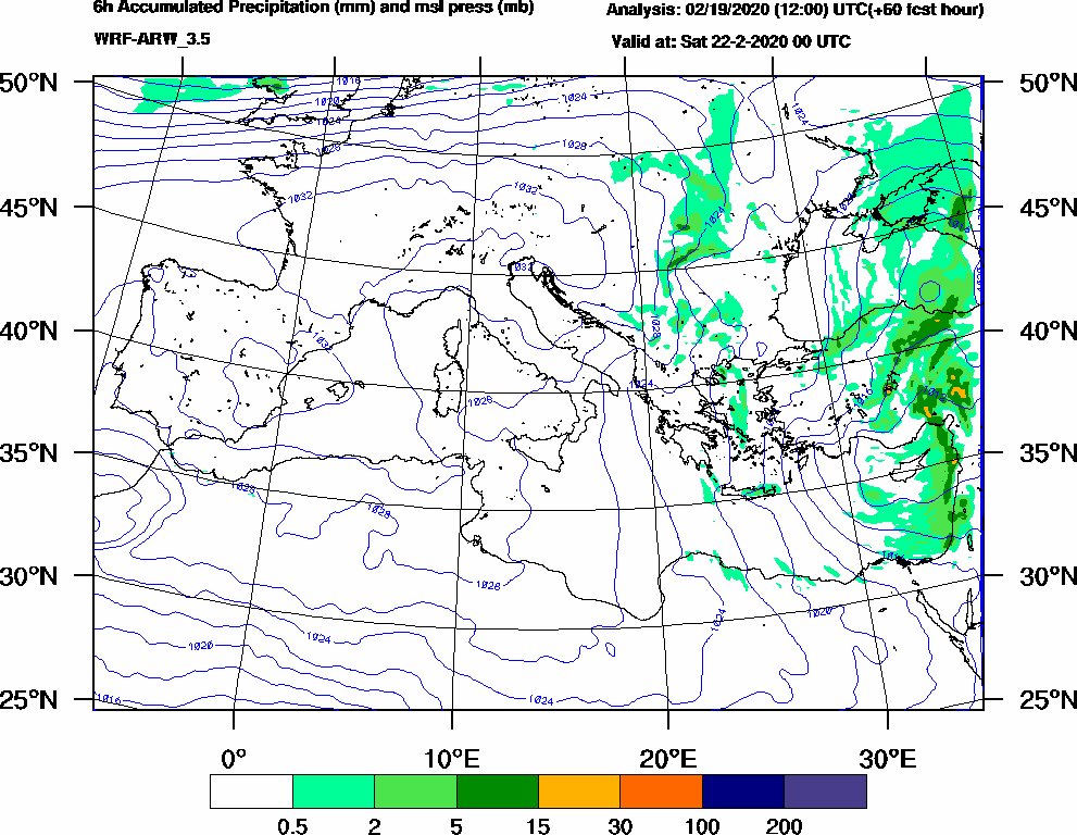 6h Accumulated Precipitation (mm) and msl press (mb) - 2020-02-21 18:00