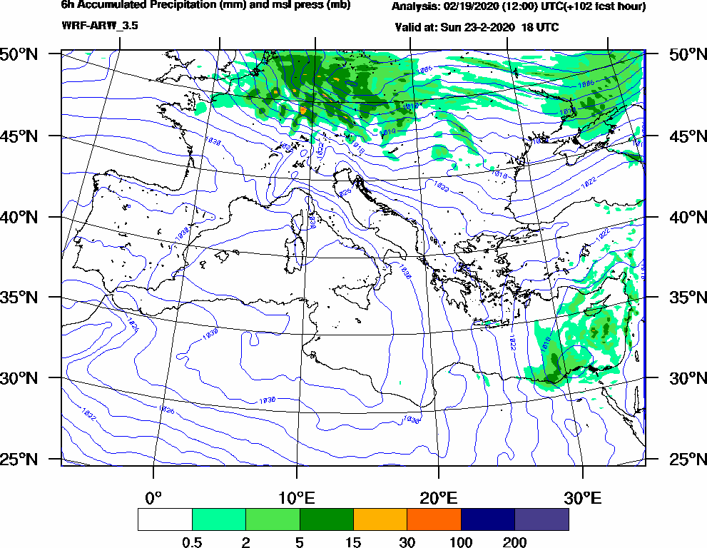 6h Accumulated Precipitation (mm) and msl press (mb) - 2020-02-23 12:00