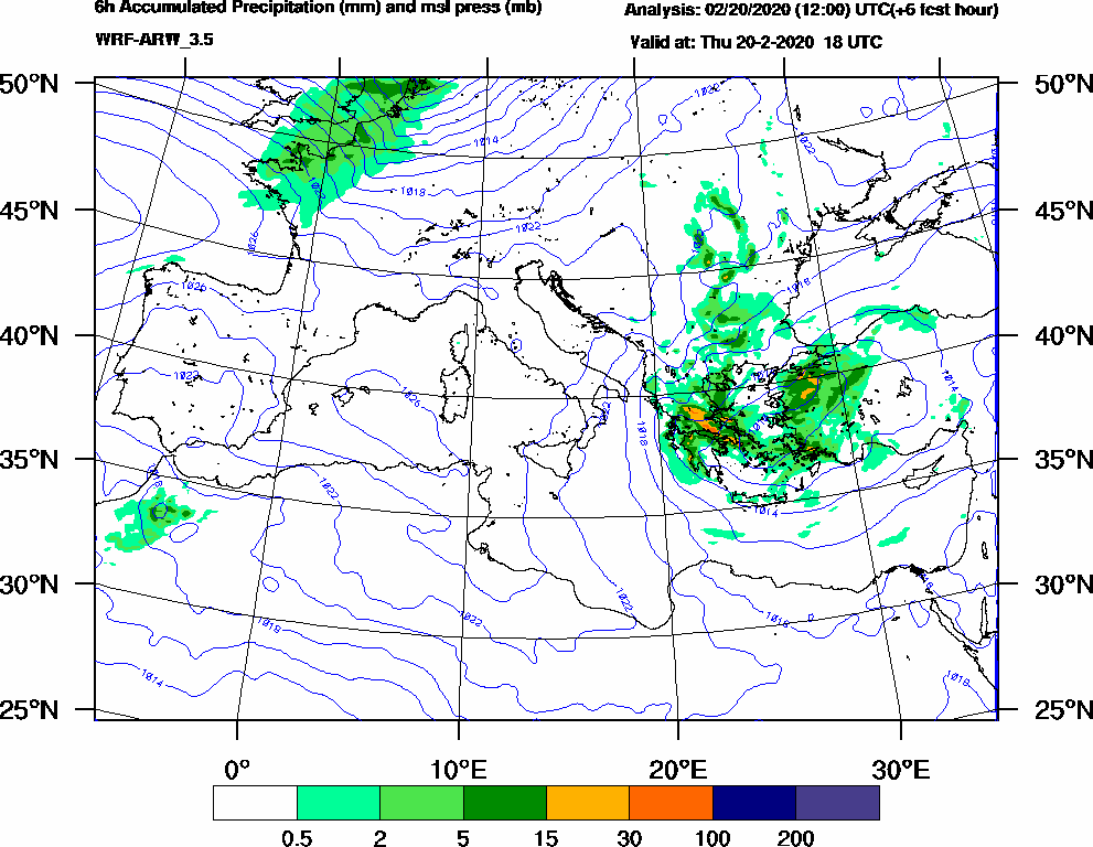 6h Accumulated Precipitation (mm) and msl press (mb) - 2020-02-20 12:00