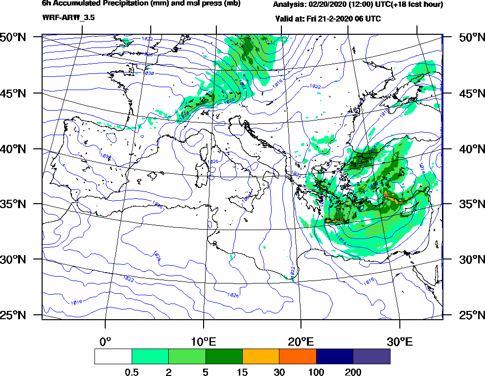 6h Accumulated Precipitation (mm) and msl press (mb) - 2020-02-21 00:00
