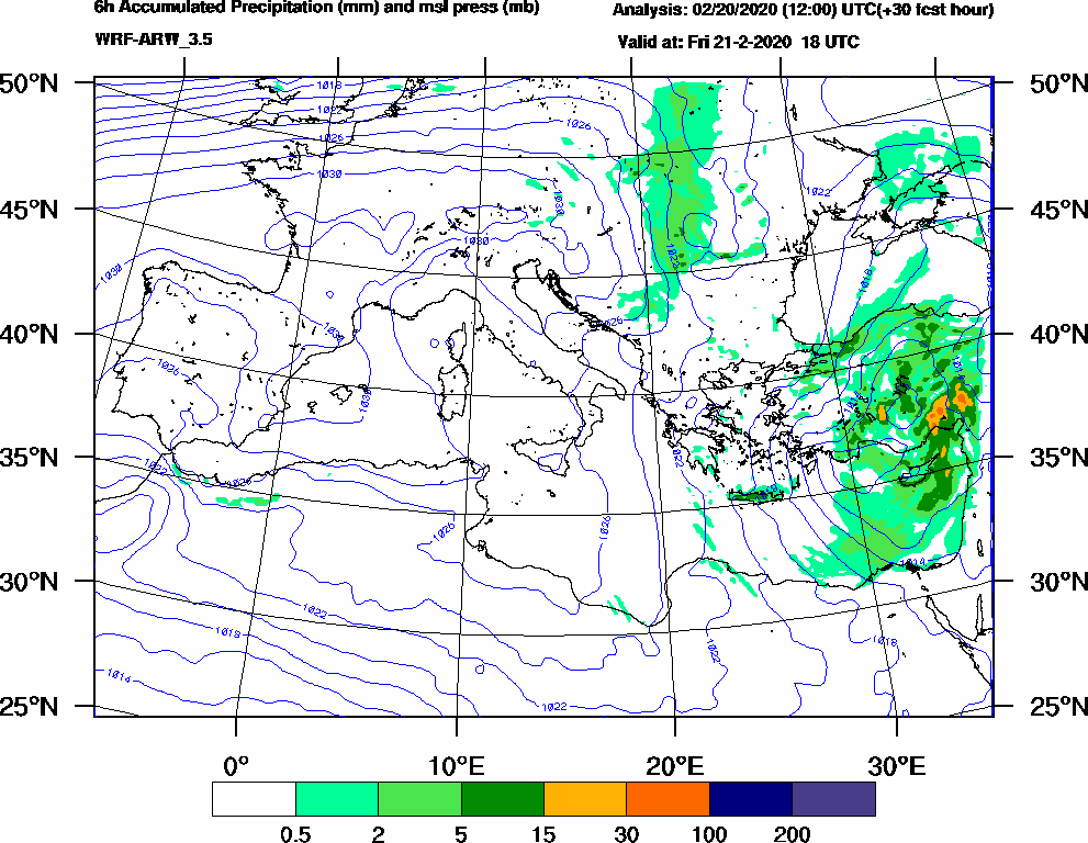 6h Accumulated Precipitation (mm) and msl press (mb) - 2020-02-21 12:00