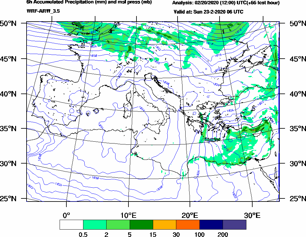 6h Accumulated Precipitation (mm) and msl press (mb) - 2020-02-23 00:00