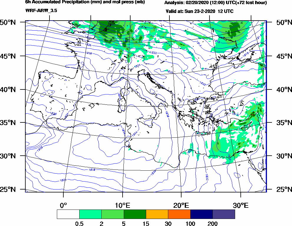 6h Accumulated Precipitation (mm) and msl press (mb) - 2020-02-23 06:00