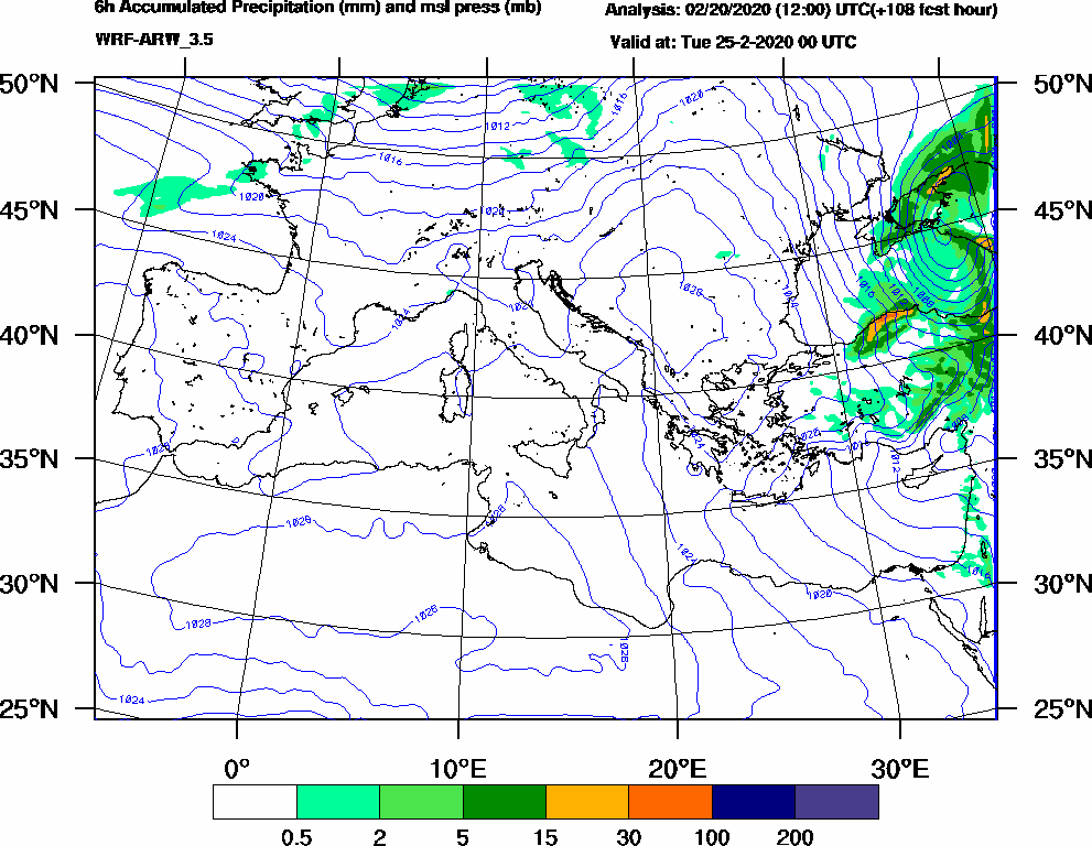 6h Accumulated Precipitation (mm) and msl press (mb) - 2020-02-24 18:00