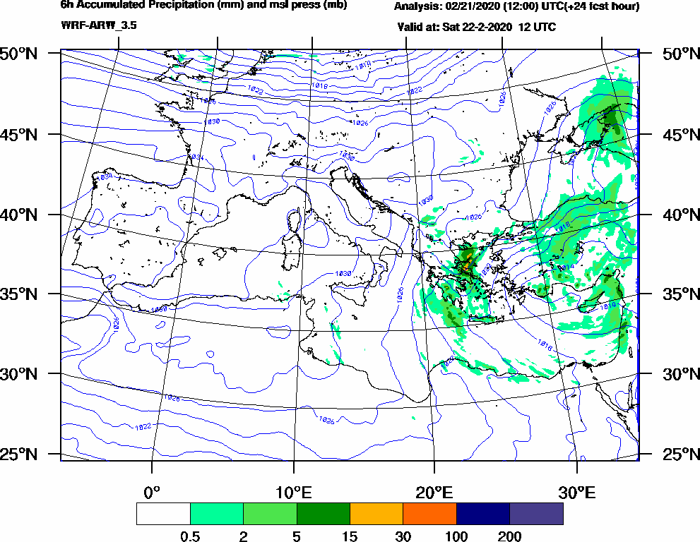 6h Accumulated Precipitation (mm) and msl press (mb) - 2020-02-22 06:00