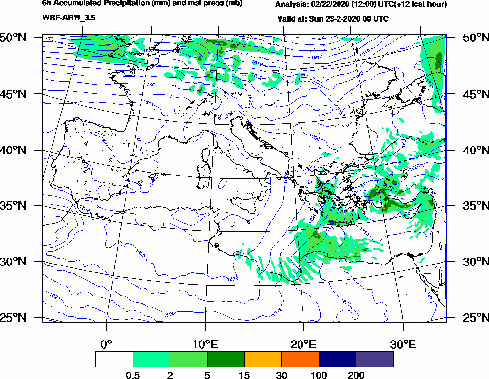 6h Accumulated Precipitation (mm) and msl press (mb) - 2020-02-22 18:00