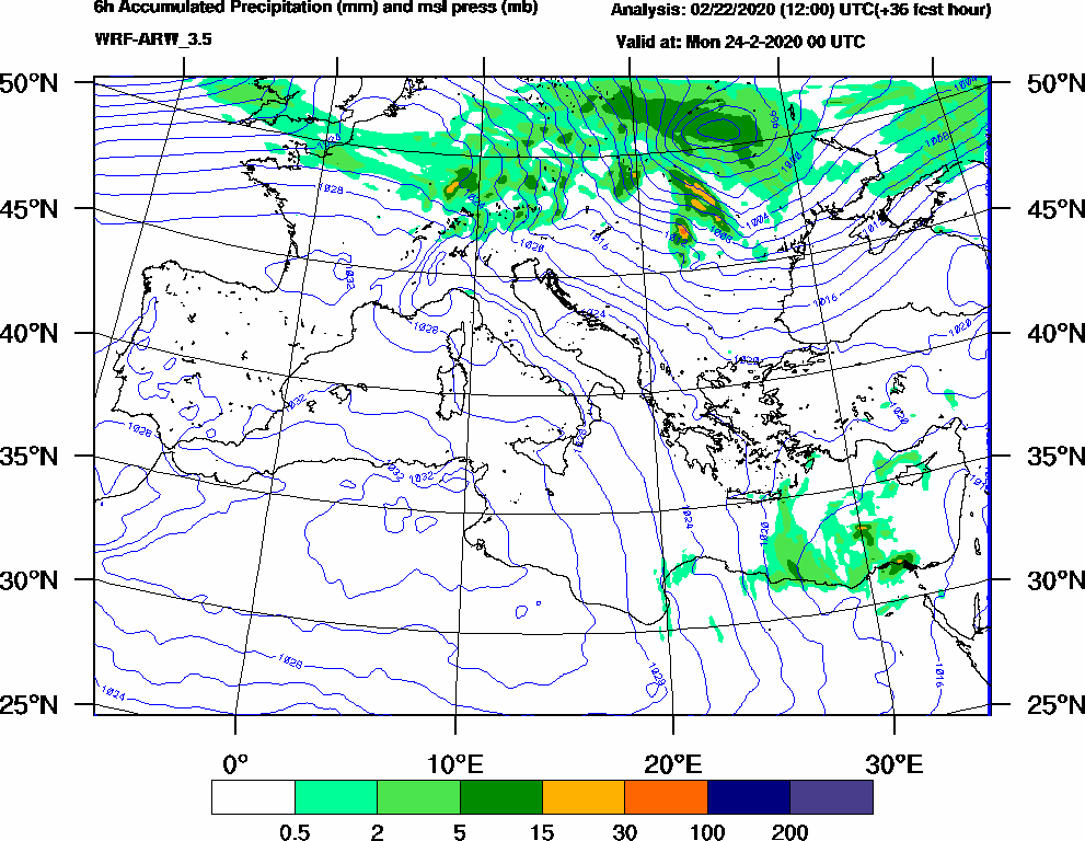 6h Accumulated Precipitation (mm) and msl press (mb) - 2020-02-23 18:00