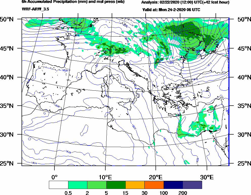 6h Accumulated Precipitation (mm) and msl press (mb) - 2020-02-24 00:00