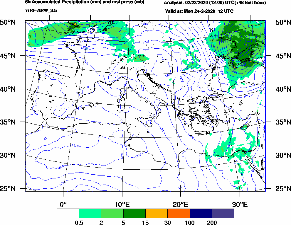 6h Accumulated Precipitation (mm) and msl press (mb) - 2020-02-24 06:00