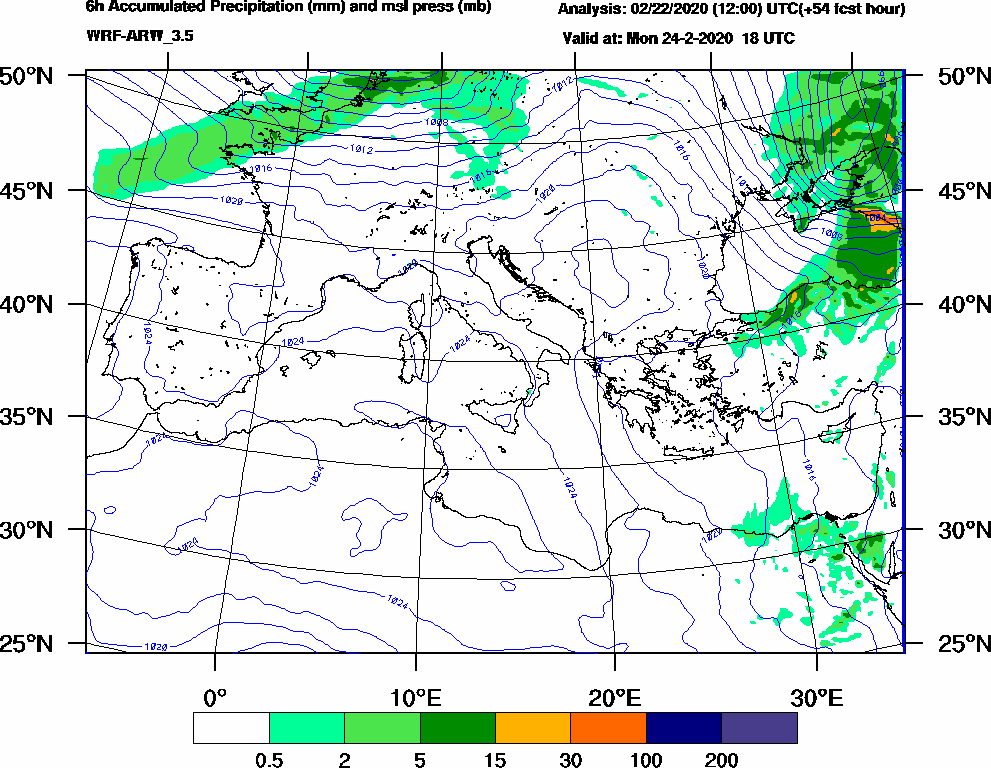 6h Accumulated Precipitation (mm) and msl press (mb) - 2020-02-24 12:00