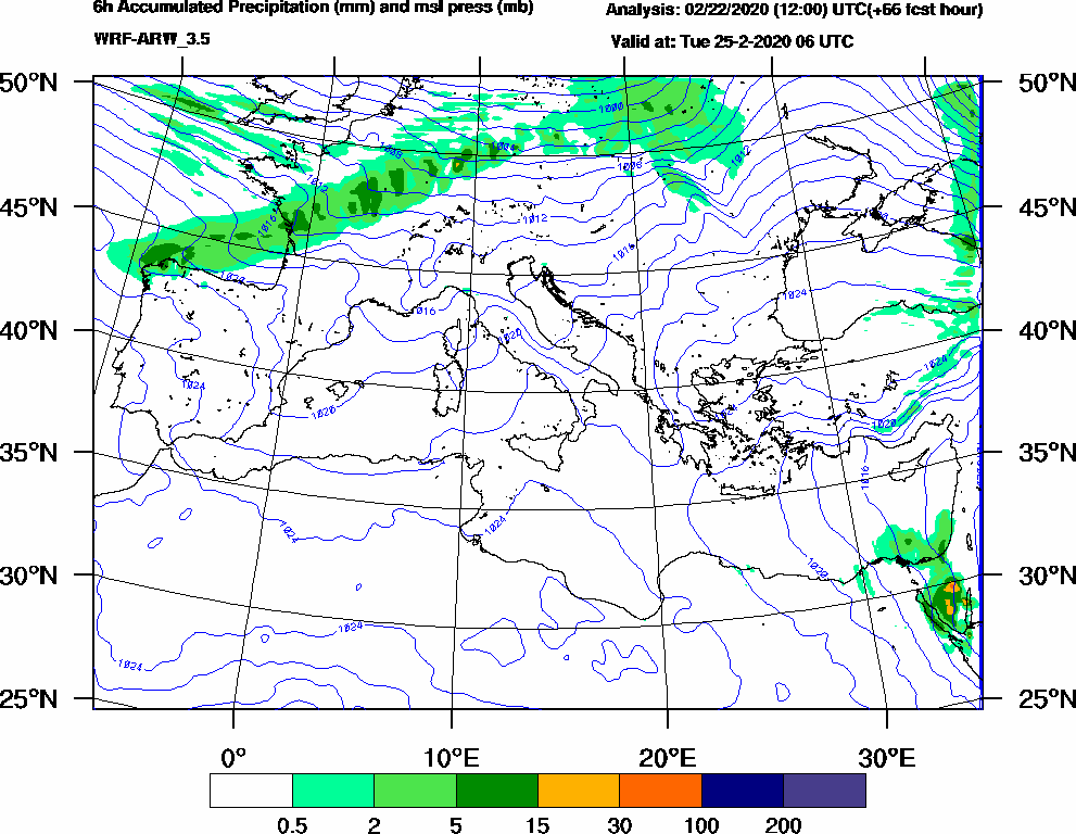 6h Accumulated Precipitation (mm) and msl press (mb) - 2020-02-25 00:00
