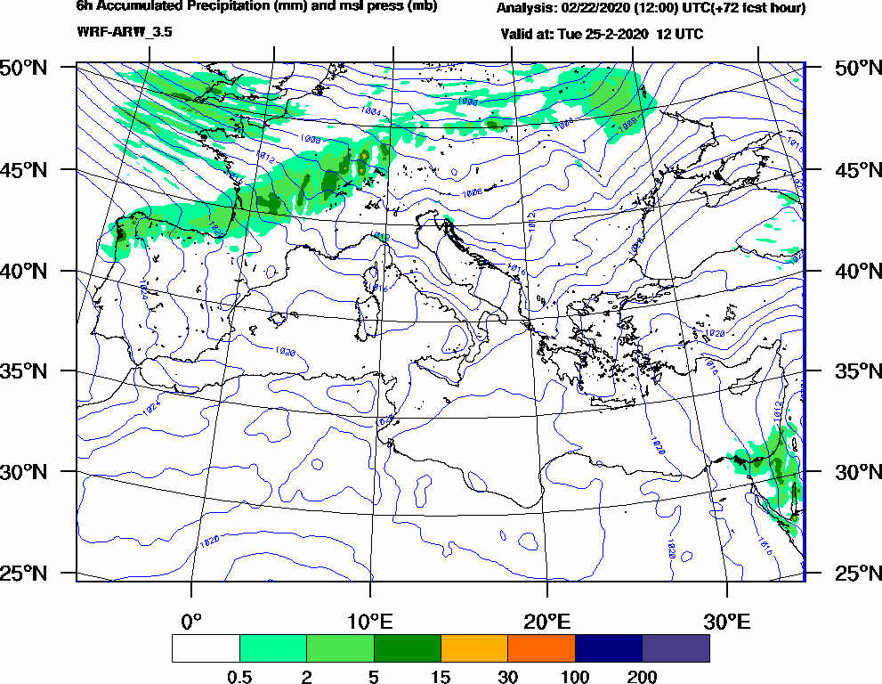 6h Accumulated Precipitation (mm) and msl press (mb) - 2020-02-25 06:00