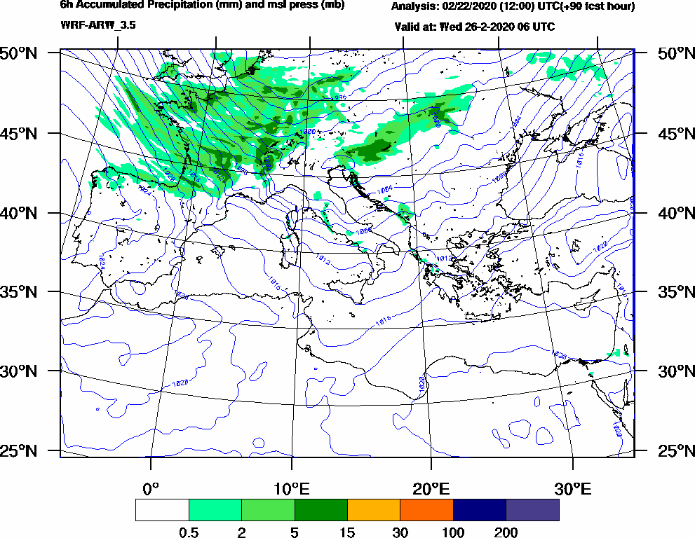 6h Accumulated Precipitation (mm) and msl press (mb) - 2020-02-26 00:00