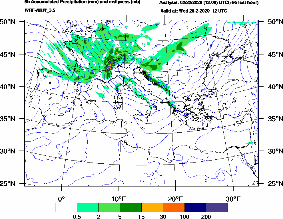 6h Accumulated Precipitation (mm) and msl press (mb) - 2020-02-26 06:00
