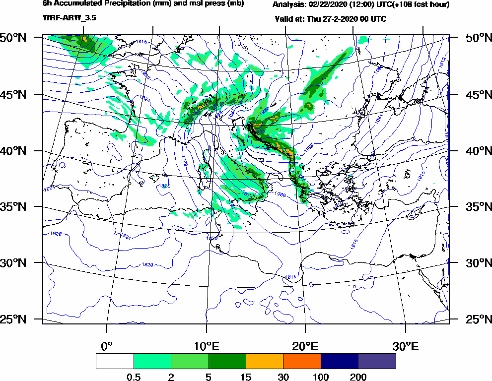 6h Accumulated Precipitation (mm) and msl press (mb) - 2020-02-26 18:00