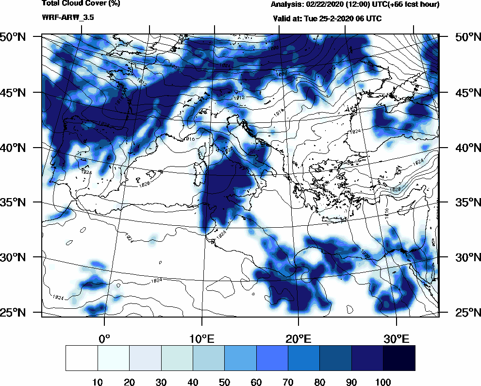 Total cloud cover (%) - 2020-02-25 00:00