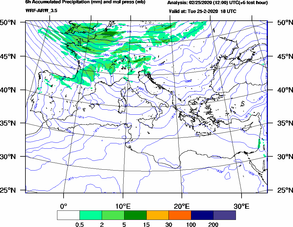 6h Accumulated Precipitation (mm) and msl press (mb) - 2020-02-25 12:00