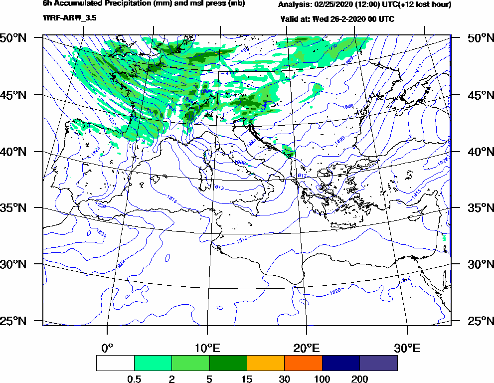 6h Accumulated Precipitation (mm) and msl press (mb) - 2020-02-25 18:00