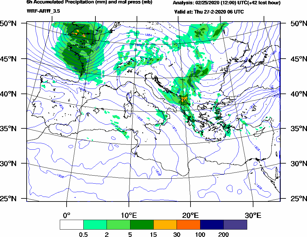 6h Accumulated Precipitation (mm) and msl press (mb) - 2020-02-27 00:00