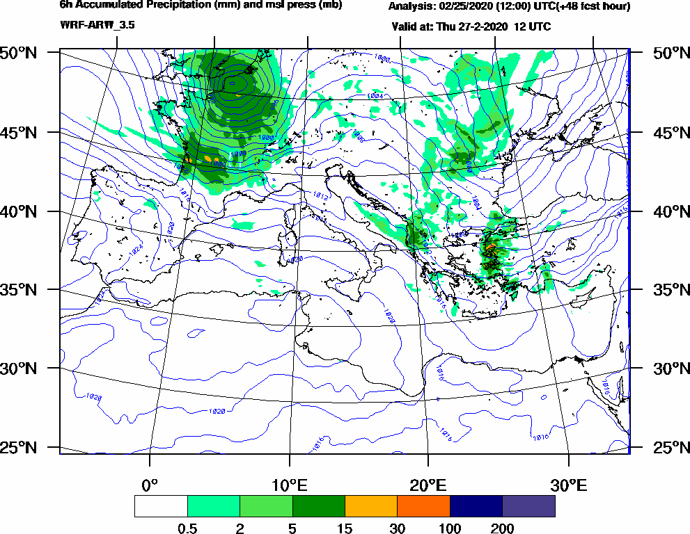 6h Accumulated Precipitation (mm) and msl press (mb) - 2020-02-27 06:00