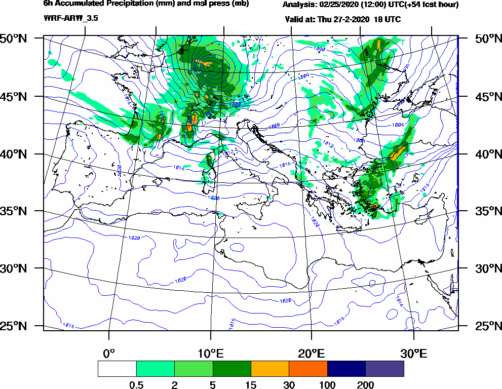 6h Accumulated Precipitation (mm) and msl press (mb) - 2020-02-27 12:00