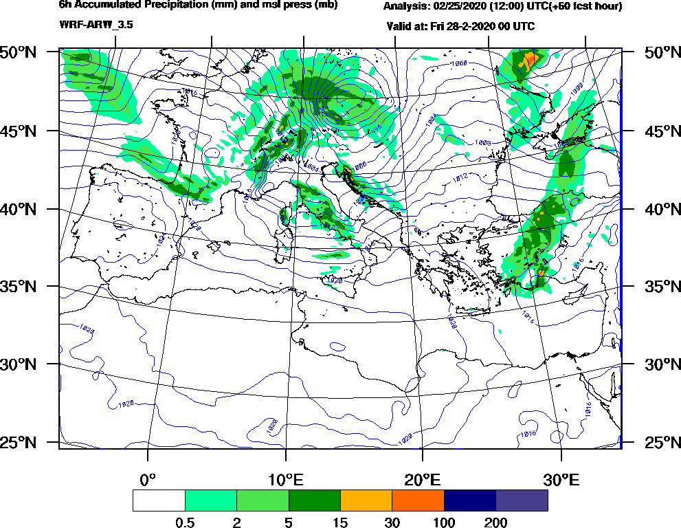 6h Accumulated Precipitation (mm) and msl press (mb) - 2020-02-27 18:00