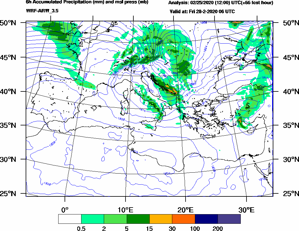 6h Accumulated Precipitation (mm) and msl press (mb) - 2020-02-28 00:00