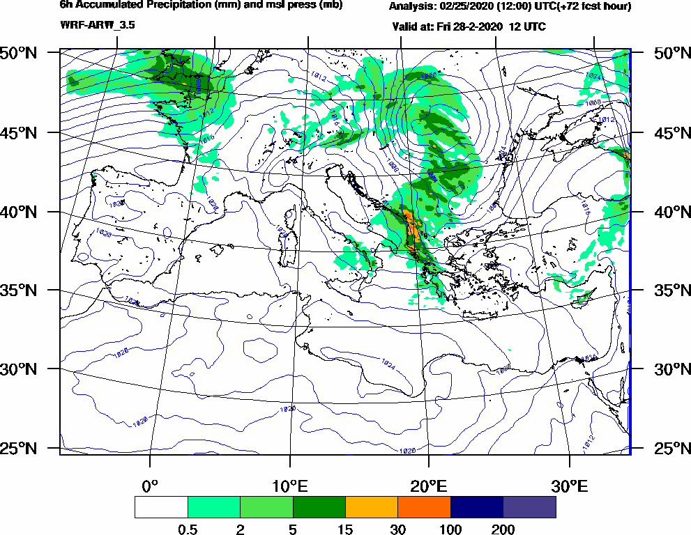 6h Accumulated Precipitation (mm) and msl press (mb) - 2020-02-28 06:00