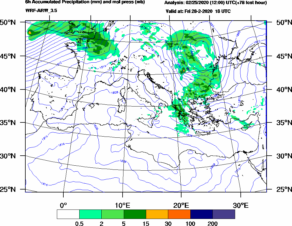 6h Accumulated Precipitation (mm) and msl press (mb) - 2020-02-28 12:00