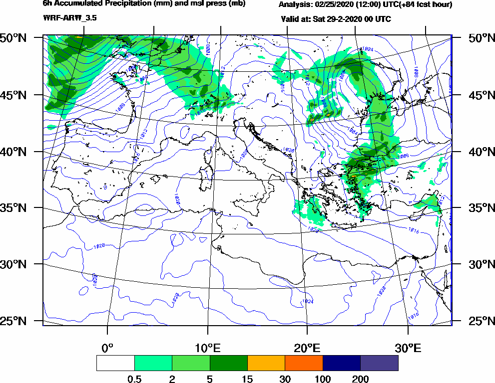 6h Accumulated Precipitation (mm) and msl press (mb) - 2020-02-28 18:00