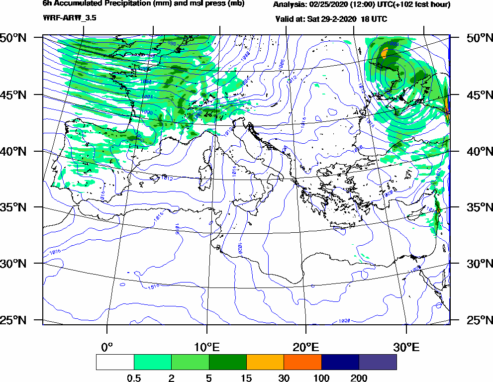 6h Accumulated Precipitation (mm) and msl press (mb) - 2020-02-29 12:00