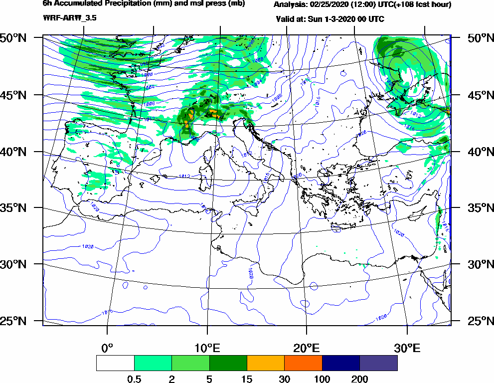 6h Accumulated Precipitation (mm) and msl press (mb) - 2020-02-29 18:00