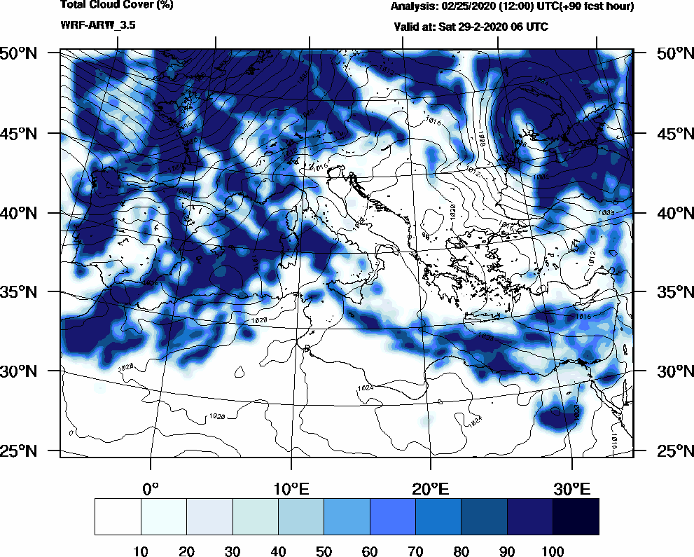 Total cloud cover (%) - 2020-02-29 00:00