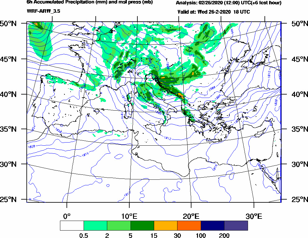 6h Accumulated Precipitation (mm) and msl press (mb) - 2020-02-26 12:00