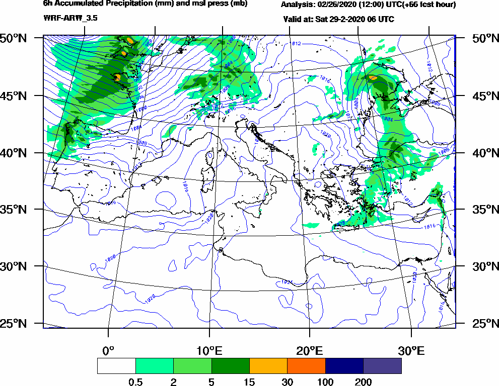 6h Accumulated Precipitation (mm) and msl press (mb) - 2020-02-29 00:00