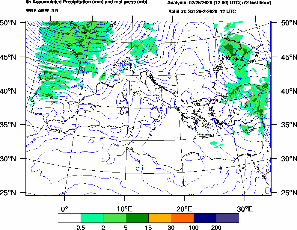 6h Accumulated Precipitation (mm) and msl press (mb) - 2020-02-29 06:00