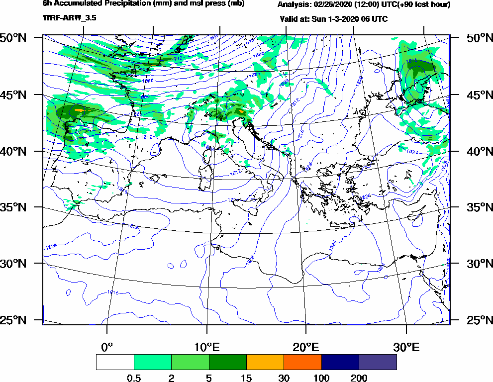 6h Accumulated Precipitation (mm) and msl press (mb) - 2020-03-01 00:00