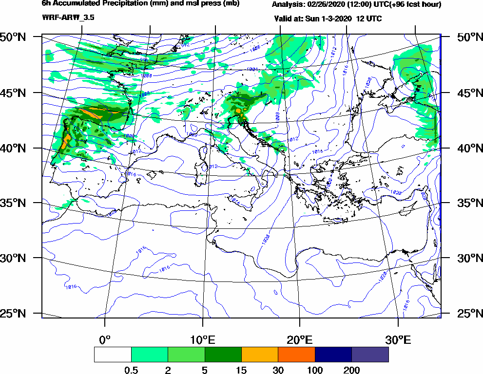 6h Accumulated Precipitation (mm) and msl press (mb) - 2020-03-01 06:00