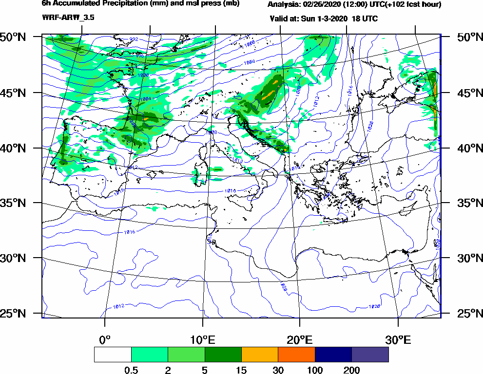 6h Accumulated Precipitation (mm) and msl press (mb) - 2020-03-01 12:00