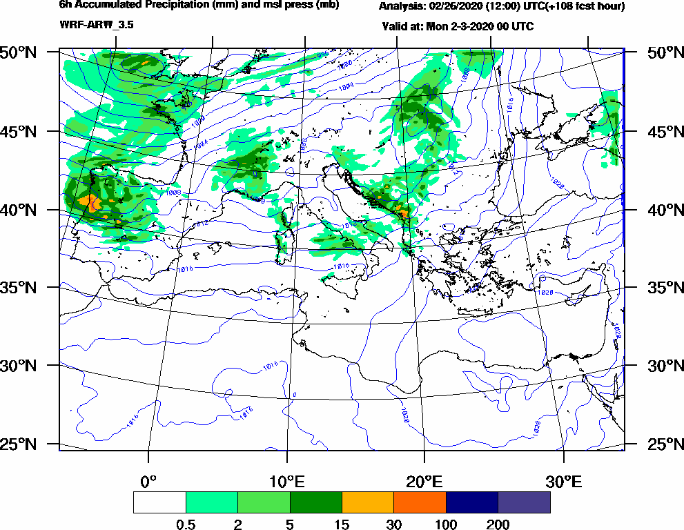 6h Accumulated Precipitation (mm) and msl press (mb) - 2020-03-01 18:00