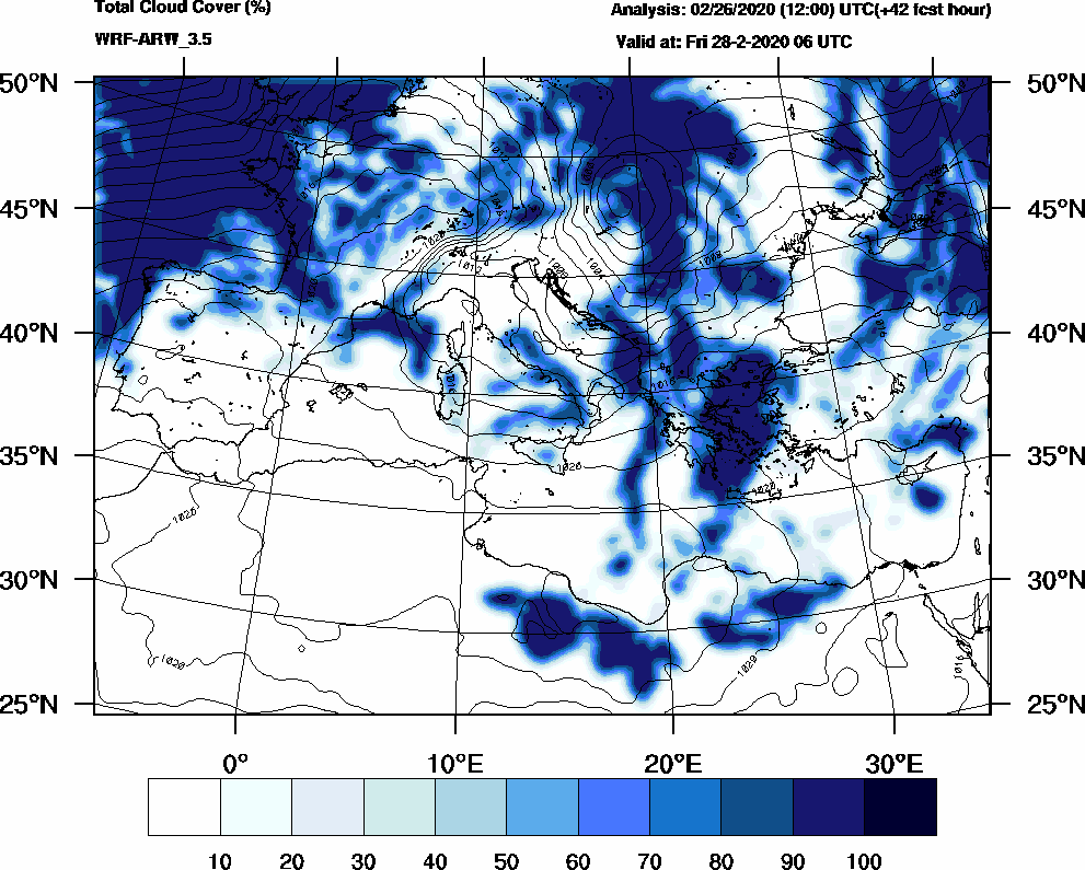 Total cloud cover (%) - 2020-02-28 00:00